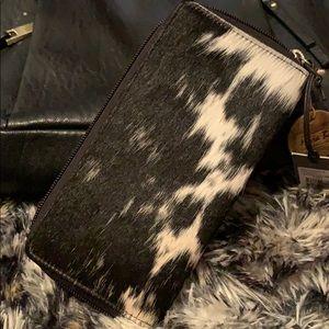 Myra Black, white hairon leather wallet, handmade